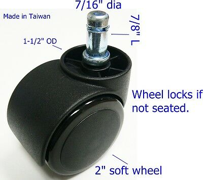 Oajen 2 Soft Wheel Chair Caster Hardwood Floor Auto Lock 5 Pcs Safety