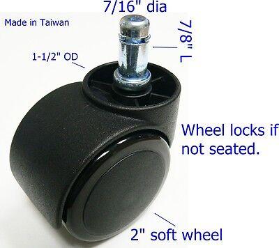 Oajen 2 Soft Wheel Chair Caster Hardwood Floor Auto Lock 5 Pcs Safety