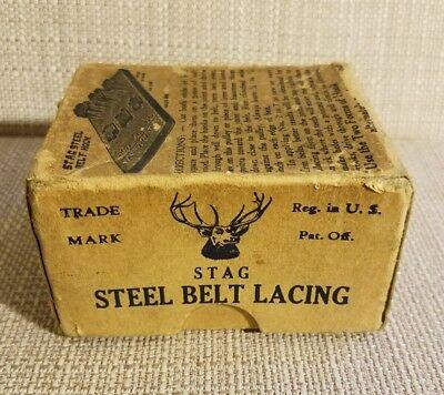 ANTIQUE STAG STEEL BELT LACING HOOKS PATENT 1901 - 1905 NOS