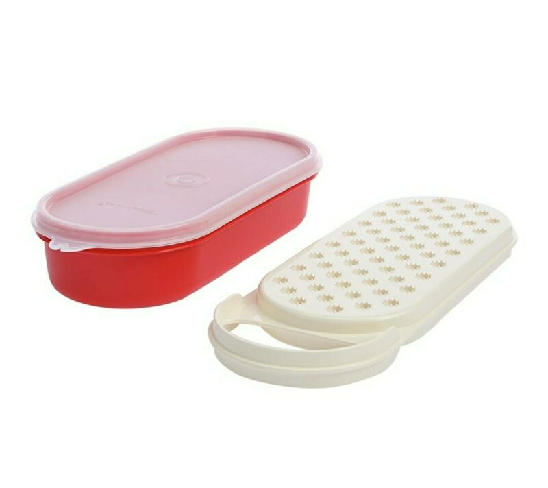 New TUPPERWARE Handy Grater RED 16 Oz EASY TO HOLD Seal For Storage FREE US SHIP