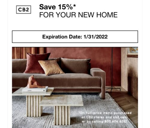 CB2 15 Off Coupon Online, In-Store, Phone Expires 01/31/2022 - $29.99