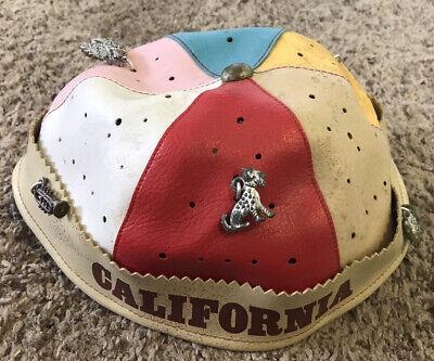 1950s Hats: Pillbox, Fascinator, Wedding, Sun Hats Vintage Ca. 1950s California Souvenir Beanie hat / Charms Pins - Carnival type $35.00 AT vintagedancer.com