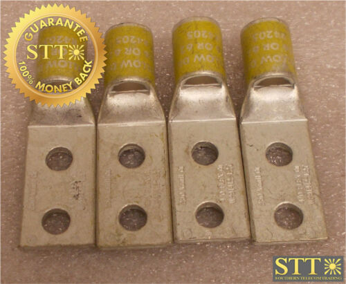"""Wp91412-l27 Lucent Comp Lug 3/8"""" Bolt 2 Hole 1"""" Spacing Yellow (lot Of 4) New"""