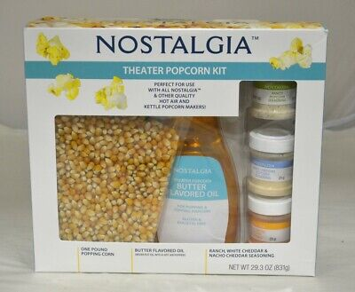 2pack Nostalgia Hot Air Kettle Kit 3 Seasonings Oil Popcorn Kernels Kpk400