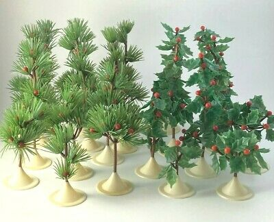 Lot of Vintage Plastic Christmas Trees for Village or Train Set Pine and Holly