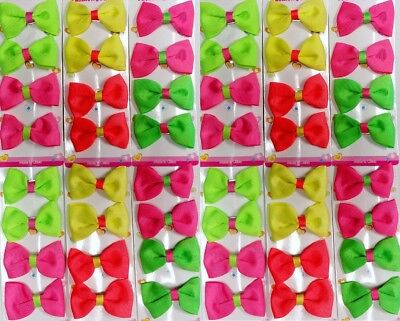 48 GROSGRAIN HAIR BOW LOT NEON BOUTIQUE CLIP BARRETTE PARTY DRESS SCHOOL PINK - Neon Pink Hair Bow