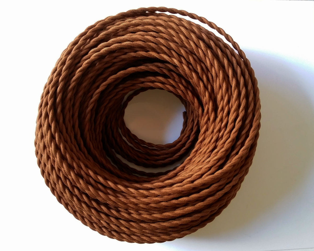 Brown Antique Braided Woven Silk Fabric Lamp Cable Wire