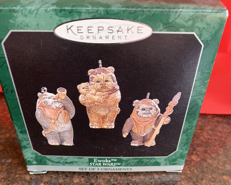 Vintage Hallmark Keepsake 1998 Star Wars Ewoks Set of 3 Mini Ornaments