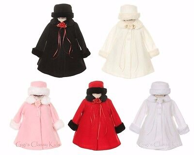 New Girls Fleece Coat Winter Christmas Fur Trim Baby Toddler Fall Wedding Kids ()