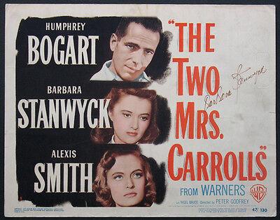 THE TWO MRS. CARROLLS HUMPHREY BOGART BARBARA STANWYCK SIGNED 1947 TITLE CARD