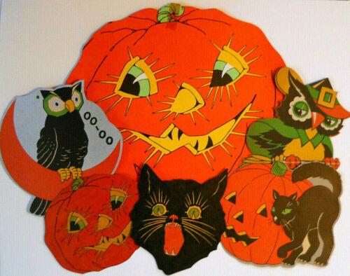6 Cute Vintage 1930s/40s Halloween Die Cuts/Cut Outs JOL/Owls/Black Cats