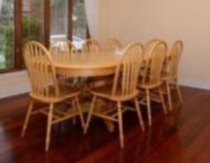 Large Extendable Solid Wood Dining Table