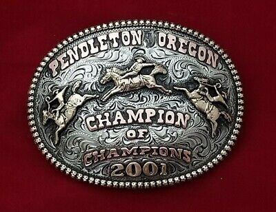 2001 VINTAGE RODEO TROPHY BELT BUCKLE~PENDLETON OREGON BRONC RIDING CHAMPION~264