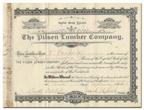 Pilsen Lumber Company Stock Certificate (Chicago, Illinois)