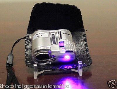 Stamp Inspection Microscope 60X Adjustable Focus Magnifier Philatelist Loup LED