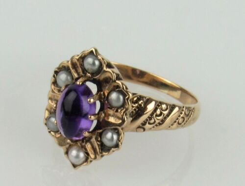 14k Antique Victorian Amethyst and Sed Pearl Engraved Pinky Ring