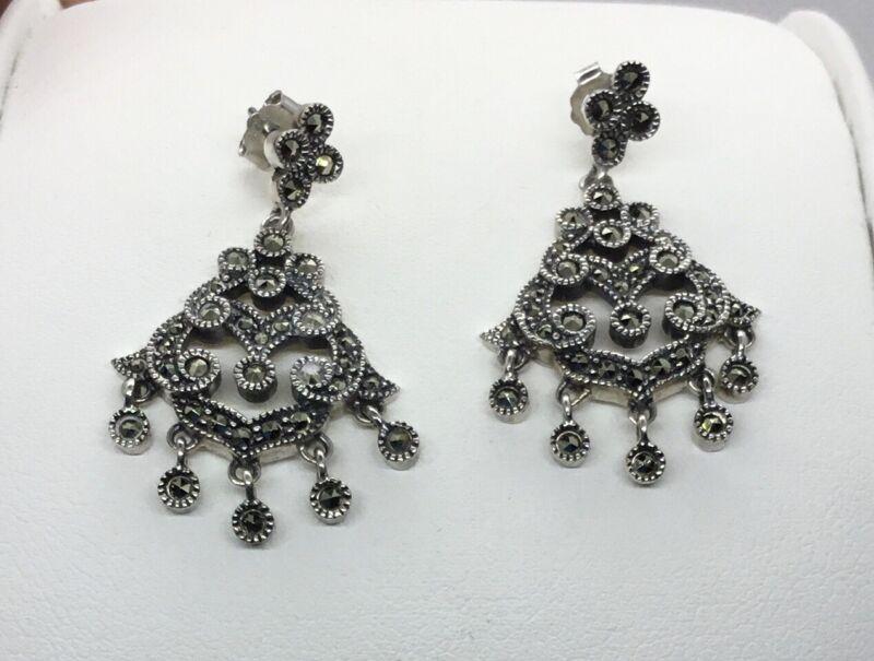 Authentic Judith Jack Sterling Silver Marcasite Chandelier Earrings, EUC, 1 In.