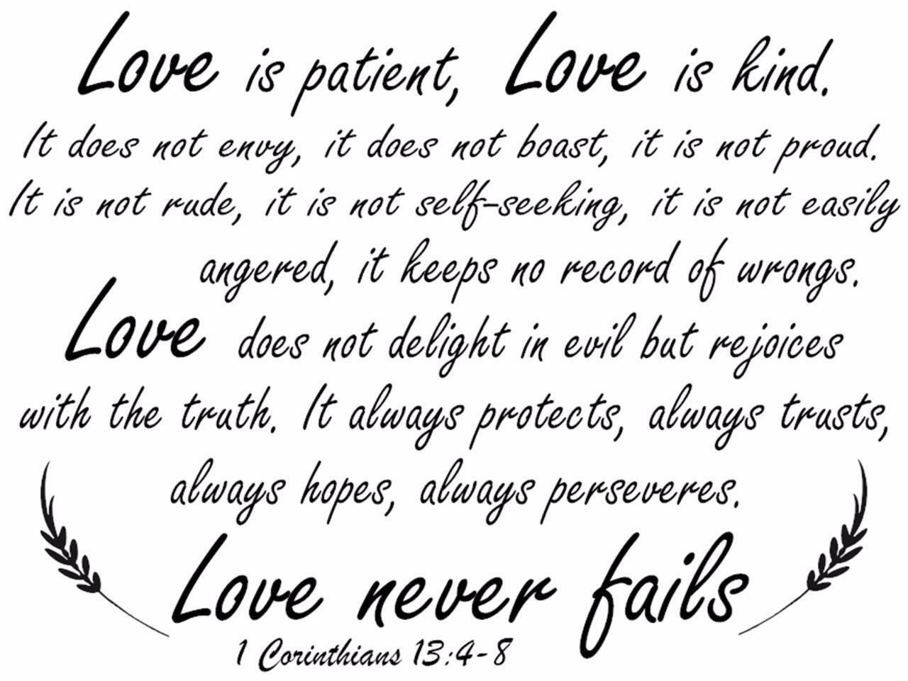 Love Is Patient Quote 1 Corinthians 1348 Bible Verse Quote Love Is Patient Wall Art