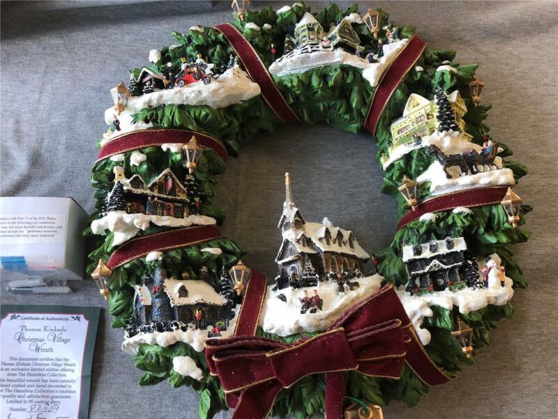 2005 Hamilton Collection Thomas Kinkade Christmas Village Wreath COA Tested