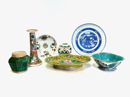 Chinese Antique 7-Piece Lot Famille Verte, Jaune, Blue & White, Rose Medallion