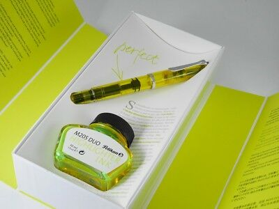 Pelikan M205 Yellow Demonstrator Fountain Pen BB with bottled ink NEW