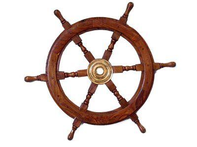 "Wooden Nautical Ship Steering Wheel Pirate Decor Wood Bras Fishing Wall Boat 24"""