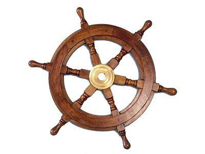 Wooden Nautical Ship Steering Wheel Pirate Decor Wood Brass Fishing Wall Boat