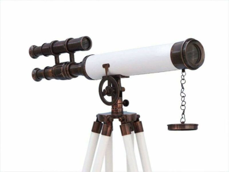 """Floor Standing Antique Copper With White Leather Griffith Astro Telescope 50"""""""