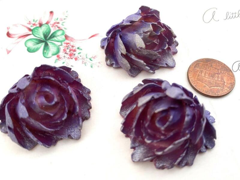 Vintage Large 31 x 34mm Aubergine Celluloid Flower Cabs Findings 3