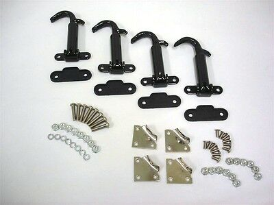 (1930 1931 Ford Model A BLACK Hood Latch w/ Install Kit Set and Stainless Clips)