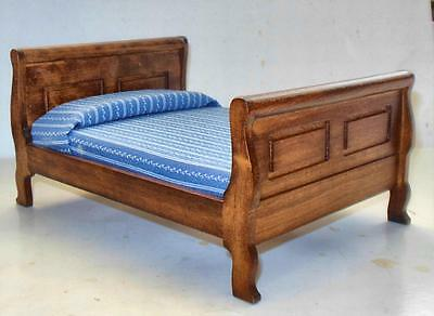 DOUBLE SLEIGH BED WALNUT #297  DOLLHOUSE FURNITURE MINIATURES Bedroom Vintage Sleigh Bed