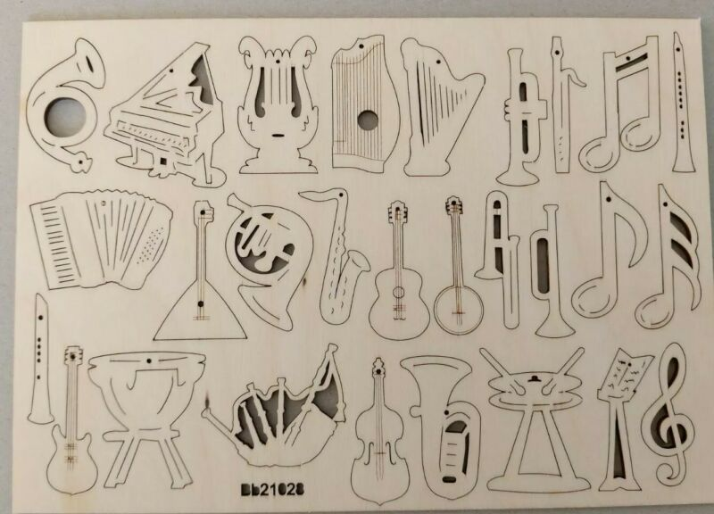 50 Anhänger Holz Instrumente 4 - 5 cm  Horn Tuba Saxofon Dudelsack Noten Pauke
