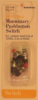 RadioShack 275-1548 SPST Mini Momentary Pushbutton Switches 4/PK 0.5A at 125VAC