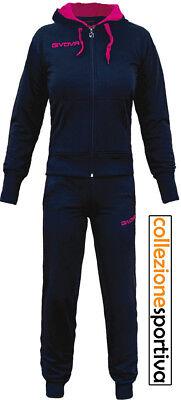 TUTA DONNA GIVOVA SLIM LADY FULL ZIP CON CAPPUCCIO - TR015 col. blu/fuxia