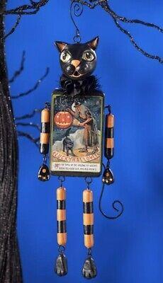 Bethany Lowe LeeAnn Kress Halloween Black Cat Dangle Ornament-Retired