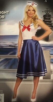 Moonlight Sailor Costume Women's M 8-10 NEW Halloween Navy Naval Dress and Hat - Blue M And M Halloween Costume