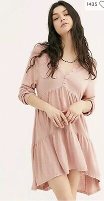 Free People Best Girl Tunic Tiered High Low Ruffles Keyhole Back Dress S](Girls Best Dresses)