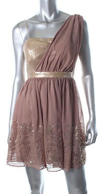 JUMP APPAREL ~Taupe Chiffon Sequins Fit & Flare Goddess Party Dress 3/4 NEW - Grecian Attire