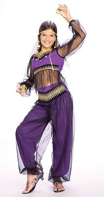 Girls Purple Harem Princess Costume Gypsy Genie Girls Childrens Belly Dancer NEW - Genie Child Costume