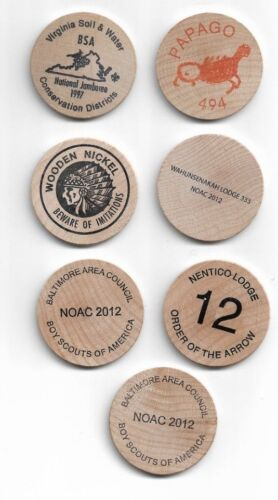 Boy scout noac 7 wooden nickels all new conn.