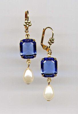 SAPPHIRE BLUE emerald-cut crystal PEARL TEARDROP Earrings 14K Gold gp *Vtg Czech