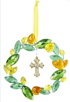 Ganz Crystal Expressions Spring Easter Cross Mini Wreath Ornament -