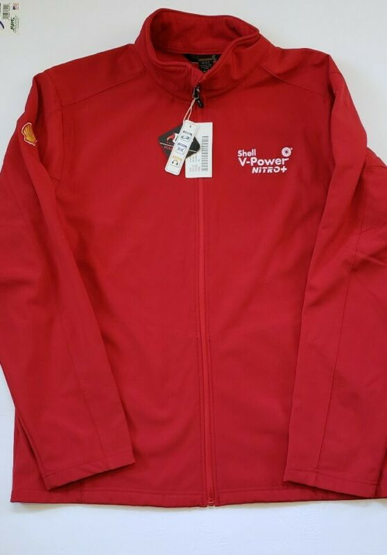 SHELL V-Power Gasoline Reflective Red Fleece Lined Employee Jacket Size XL NWT