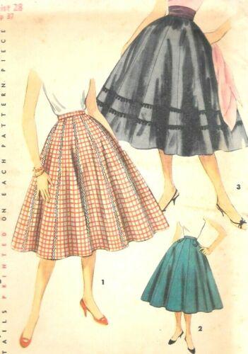"EASY 1955 Vtg SIMPLICITY PATTERN • #1087 WAIST 28"" HIP 37"" CIRCULAR/POODLE SKIRT"