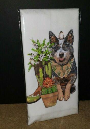 Mary Lake Thompson HEELER WITH CACTUS DOG Kitchen Flour Sack Towel