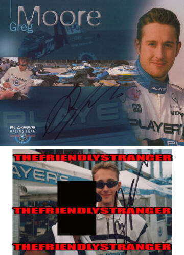 Rare GREG MOORE signed Autographed CART PLAYERS RACING 8X10 PROMO Photo PRF COA