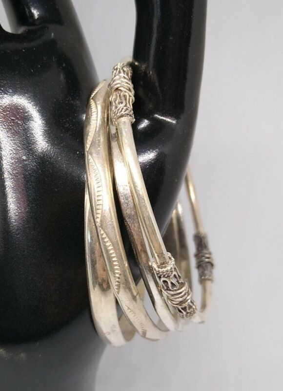 Lot of 5 Vintage  Mexico Sterling Silver 925 Bangle Bracelets Very Detailed