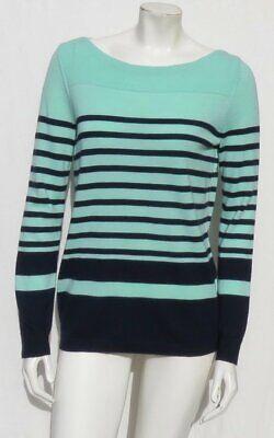 Leichte Wolle-pullover (Talbots Marineblau Minzgrün Streifen Merino Wolle Pullover GRÖSSE M Waschbar)