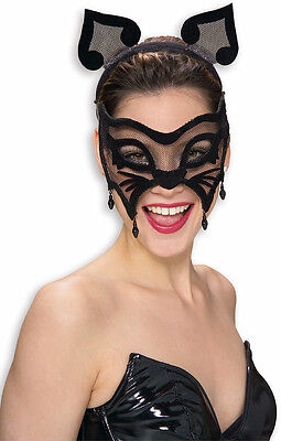 BLACK MESH CAT MASK MARDI GRAS MASQUERADE BLACK WOMAN ADULT CAT MASK 3474