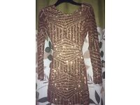 Backless sequin dress 8 s rose gold